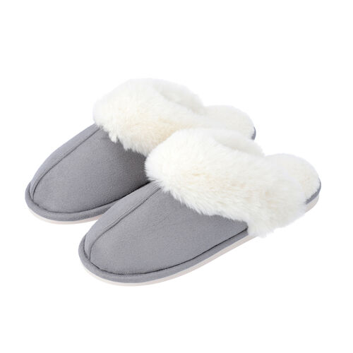 Super Soft Suedette Home Slippers with Faux Fur (Size L: 7-8) - Grey