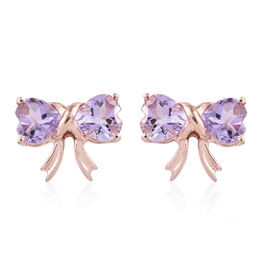 Rose De France Amethyst (Hrt) Bow Knot Earrings (with Push Back) in Rose Gold Overlay Sterling Silver 3.000 Ct.