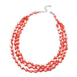Simulated Red Topaz Beaded Necklace (Size 22 with 2 inch Extender) in Silver Tone