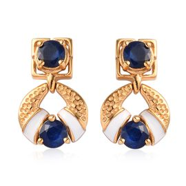 Tanzanian Blue Spinel Enamelled Earrings (with Push Back) in 14K Gold Overlay Sterling Silver 2.25 C