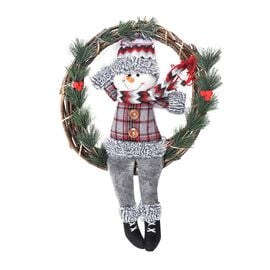 Christmas Decorative Snowman Wreath with Artificial Pine Twigs (Size 32 Cm) - Green and Grey