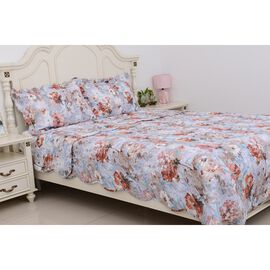 3 piece set - Multi Colour Floral Pattern Quilt (Size 260x240 Cm) and 2 Pillow Case (Size 2x70x50+5