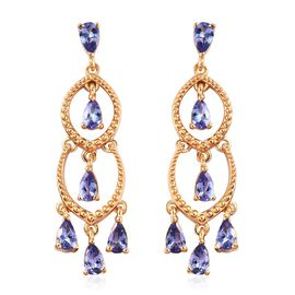 Tanzanite (Pear) Chandelier Earrings (with Push Back) in 14K Gold Overlay Sterling Silver 2.50 Ct, S