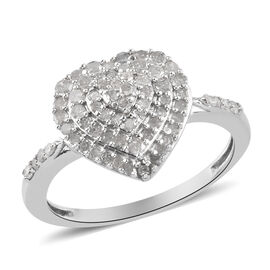 Diamond Cluster Heart Ring in Platinum Overlay Sterling Silver 0.50 Ct.