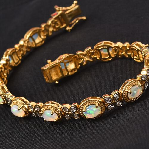 Ethiopian Welo Opal and Natural Cambodian Zircon Bracelet (Size 7.5) in 14K Gold Overlay Sterling Silver 4.75 Ct, silver wt. 15.00 Gms