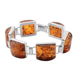 Baltic Amber Bracelet (Size 7.75) in Sterling Silver, Silver wt 19.00 Gms