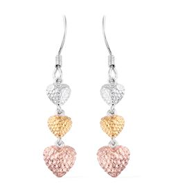 Vicenza Collection-Platinum, Yellow Gold and Rose Gold Overlay Sterling Silver Triple Heart Hook Earrings, Silver wt. 4.38 Gms.