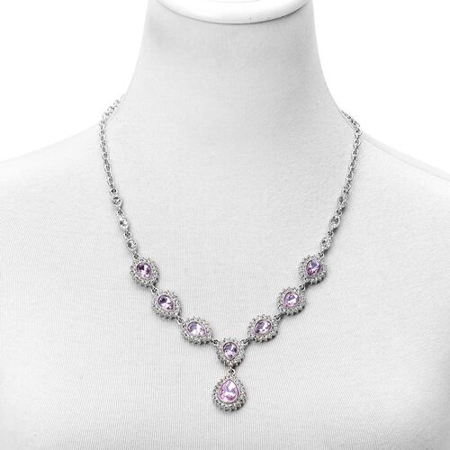 Simulated Pink Sapphire and White Austrian Crystal Necklace (Size 18 with 3 inch Extender), Earrings (with Push Back) and Bracelet (Size 7.5 with 3 inch Extender) in Silver Tone