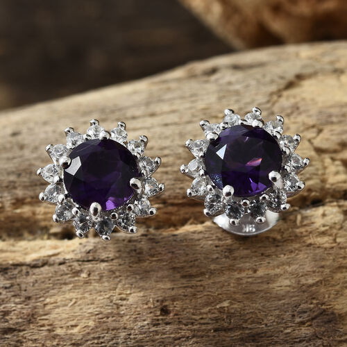 9K White Gold AAAA Lusaka Amethyst (Rnd), Natural White Cambodian Zircon Earrings (with Push Back) 2.000 Ct