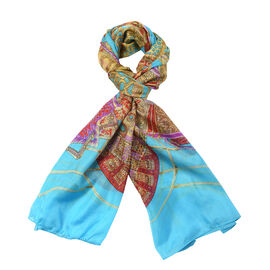 Close Out Deal- 100% Mulberry Silk Bohemian Pattern Scarf (Size 180x110Cm) - Blue