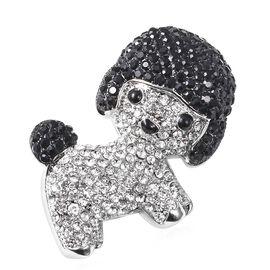 White and Black Austrain Crystal (Rnd) Enamelled Preety Dog Brooch in Silver Tone