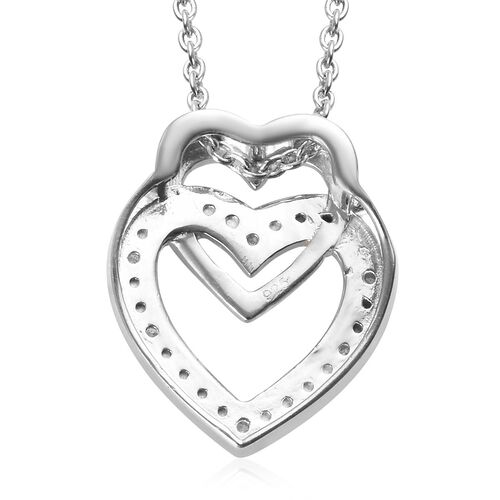 Diamond (Rnd) Heart Pendant with Chain (Size 18) in Platinum and Yellow Gold Overlay Sterling Silver 0.06 Ct.