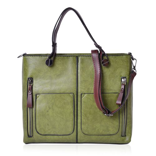 Olive Green and Brown Colour Tote Bag with 3 External Zipper Pockets and Removable Shoulder Strap (Size 31x25.5x11 Cm)