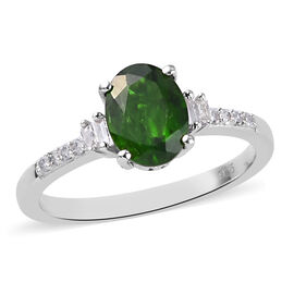 One Time Deal - Natural Russian Diopside (Ovl 8x6) and Diamond Ring in Platinum Overlay Sterling Sil