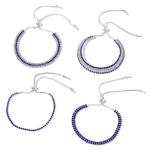 4 Piece Set - Blue and White Austrian Crystal Friendship Bracelet (Size 6 to 8.5 Inch)