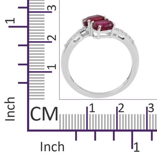 African Ruby (Ovl), Natural Cambodian Zircon ByPass Ring in Platinum Overlay Sterling Silver 2.500 Ct.