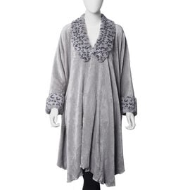 Faux Fur Coat with Leopard Print Collar and Cuffs (Size 140x100 Cm) - Grey