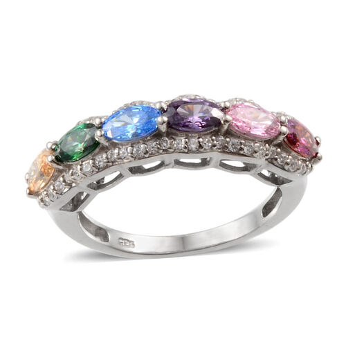 J Francis - Platinum Overlay Sterling Silver (Ovl) Ring Made with Pink, Amethyst, Red, Blue, Green, Yellow and White SWAROVSKI ZIRCONIA