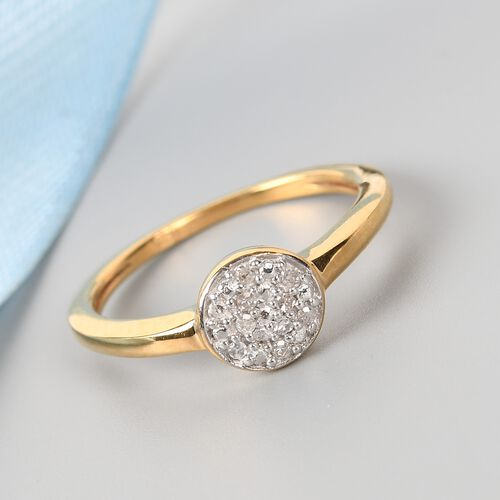 Diamond (Rnd) Ring in 14K Gold Overlay Sterling Silver