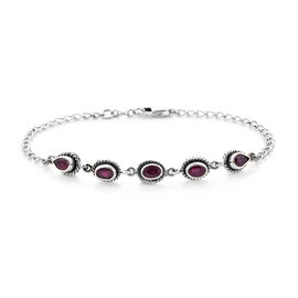 African Ruby Bracelet (Size 7.5 with 0.5 inch Ext.) in Sterling Silver 3.33 Ct.