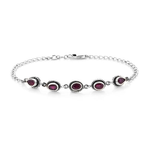 Royal Bali Collection African Ruby Bracelet (Size 7.5 with 0.5 inch Ext.) in Sterling Silver 3.33 Ct