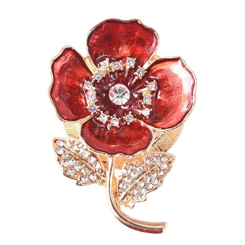 White Austrian Crystal Enamelled Poppy Floral Magnetic Brooch in Gold Tone