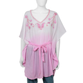 100% Cotton Embroidered V Neck kaftan with Asymmetric Hem (Size 85x85 Cm) - Pink