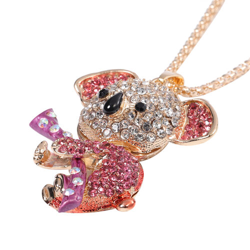 Multi Colour Austrian Crystal Enamelled Koala Pendant with Chain (Size 30 with Extender) in Yellow Gold Tone