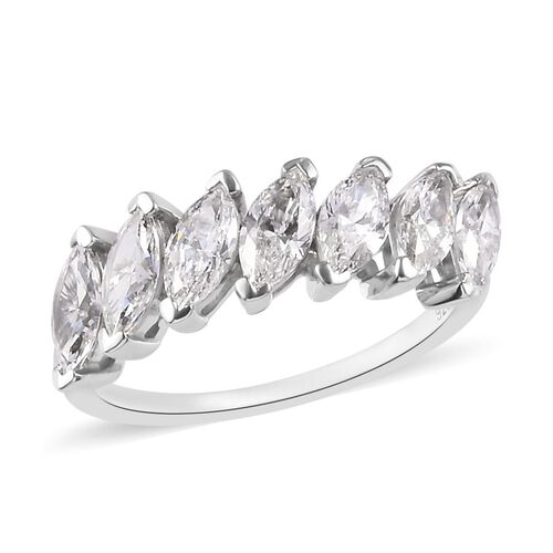 J Francis Made with SWAROVSKI ZIRCONIA Eternity Ring in Platinum Plated Sterling Silver