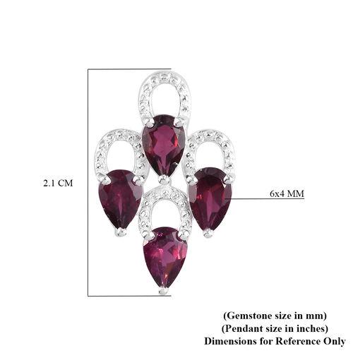 Rhodolite Garnet Pendant in Sterling Silver 2.00 Ct.