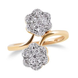 9K Yellow Gold SGL Certified Diamond (Rnd) (I3/G-H) Floral Bypass Ring 0.50 Ct.