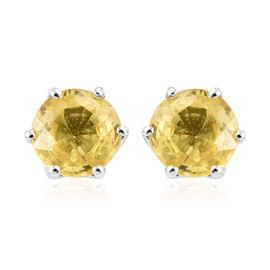Sri LankanYellow Sapphire (1.25 Ct) 9K W Gold Earring  1.250  Ct.