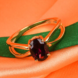 Rhodolite Garnet Solitaire Ring in 14K Gold Overlay Sterling Silver  1.75 Ct.