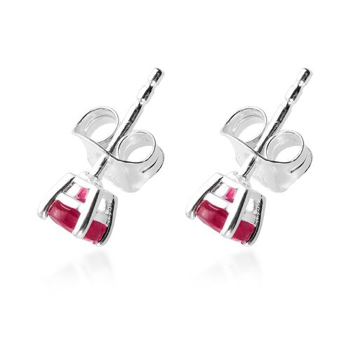 Mega Deal- African Ruby Stud Earrings (with Push Back) in Sterling Silver