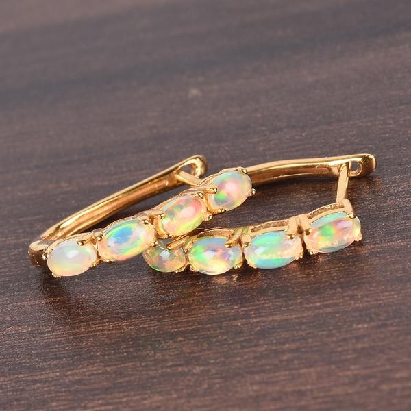 Ethiopian Welo Opal Hoop Earrings (with Clasp Lock) in 14K Gold Overlay Sterling Silver 1.13 Ct.