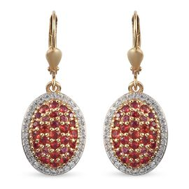 Red Sapphire and Natural Cambodian Zircon Cluster Earrings (with Leaver back) in 14K Gold Overlay St