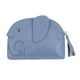SENCILLEZ 100% Genuine Leather Elephant Shaped Wallet (Size 14x11cm) - Blue
