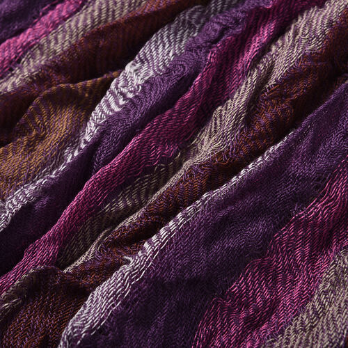 Stretch Smocking Scarf with Tassels in Purple (120x25cm)