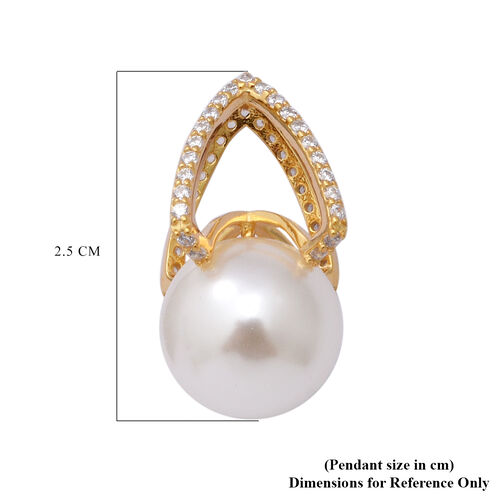 Simulated White Pearl and Simulated Diamond Pendant in Yellow Gold Overlay Sterling Silver