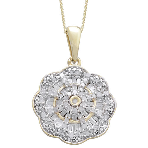 Diamond (Rnd) Cluster Pendant With Chain in Platinum and 14K Gold Overlay Sterling Silver 0.750 Ct.