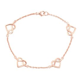 LucyQ Entwined Heart Station Bracelet (Size 7.5) in Rose Gold Overlay Sterling Silver, Silver wt 5.1