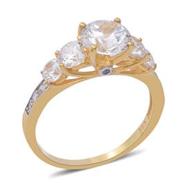 ELANZA Swiss Star Cubic Zirconia Classic and Contemporary Style Ring in Gold Plated Silver