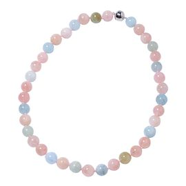 464.50 Ct Multi Beryl Beaded Necklace with Magnetic Lock in Rhodium Plated Silver 20 Inch