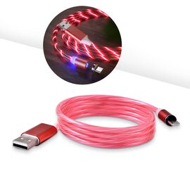 Set of 2 - USB Cable with 3 Magnetic Tips (Charger, Type-C and Micro USB) and Flowing LED Lights - R