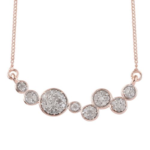 Diamond (Rnd) Necklace with Chain (Size 18) in Rose Gold and Silver Overlay Sterling Silver 0.300 Ct.