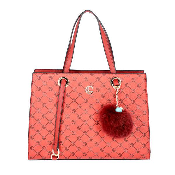 LOCK SOUL Handbag with Fuzzy Ball Tassel (35.3x13.5x27cm) - Red