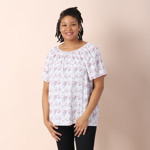 JOVIE 100% Viscose Floral Pattern Blouse - White and Multi