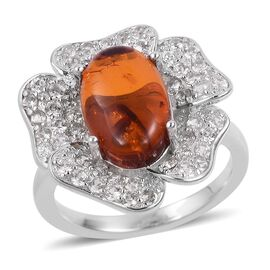 Baltic Amber (Ovl 1.25 Ct), Natural White Cambodian Zircon Flower Ring in Rhodium Plated Sterling Silver 2.500 Ct.