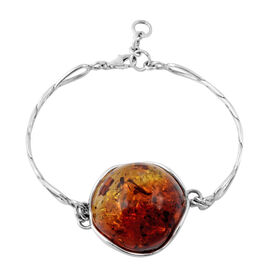Baltic Amber Bangle (Size 7.5) in Sterling Silver
