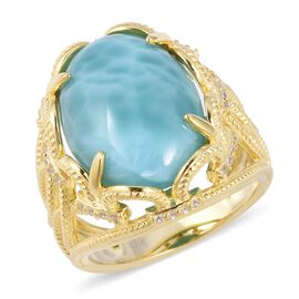 11.7 Ct Larimar and White Zircon Solitaire Ring in Sterling Silver 6.2 Grams